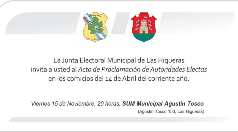 Este viernes se realizará la proclamación de las autoridades electas en las elecciones municipales de Las Higueras